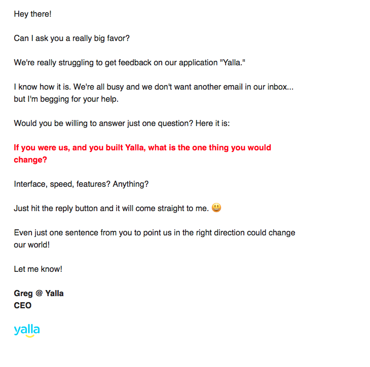 simple email to get customer feedback on SAAS