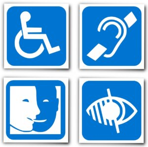 Four blue icons depicting impairments of mobility, hearing, cognitive, and vision.